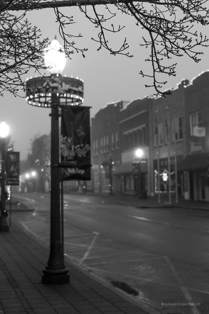 Christmasville in Morning Fog