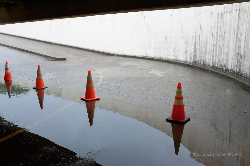 Parking Cones and Rain