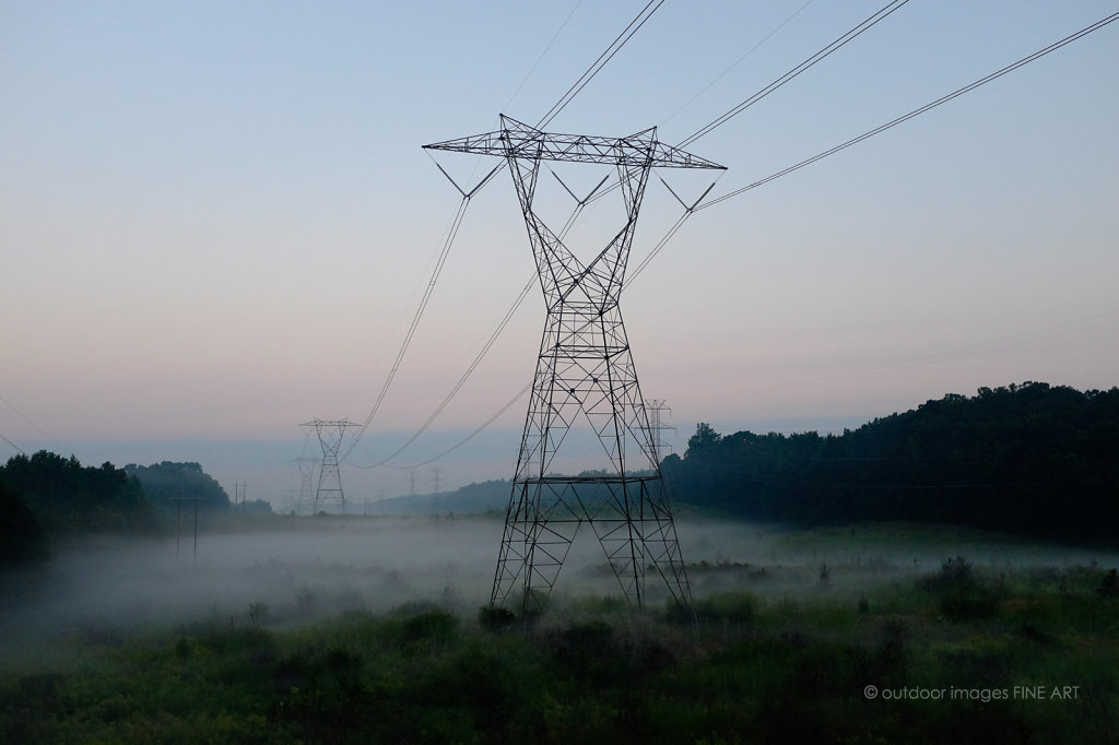 Power Lines in Low Fog 3