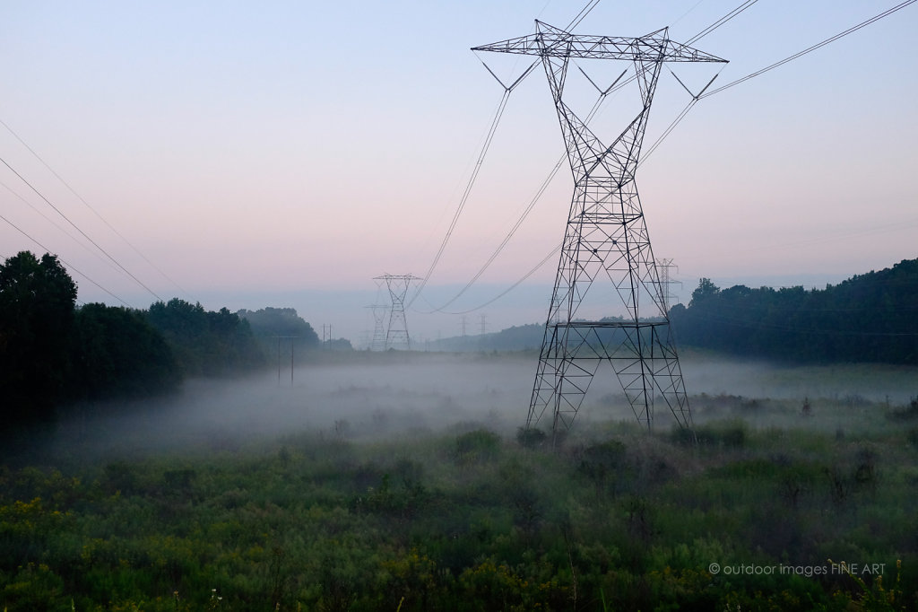 Power Lines in Low Fog 2